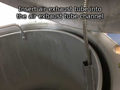 insert air exhaust tube into airexhaust tube channel